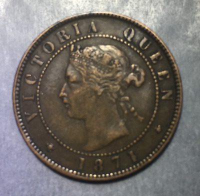 1871 Prince Edward Island Canada One 1 Cent Copper Penny – L@@K!
