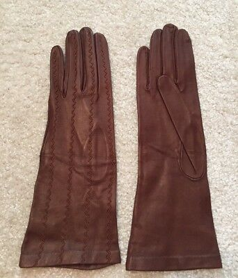 Vintage Milore Fine Leather Brown Embroidered Gloves Size 6.5 Ladies