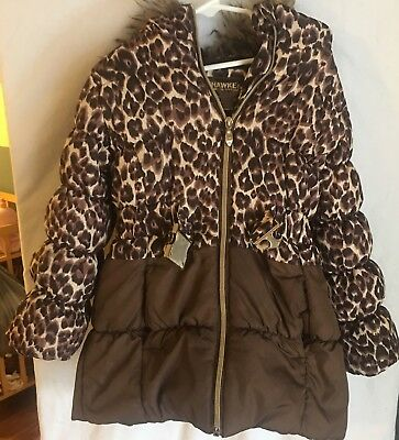 Hawk & Co Outfitters Girls Cheetah Print Puffer Coat Size 5 Long Cute