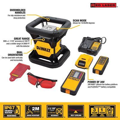 DEWALT DW079LR 20v MAX Rotary Laser Red With Charger Case Lithium Ion