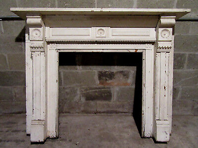~ ANTIQUE CARVED OAK FIREPLACE MANTEL ~ 60 x 48 ~ ARCHITECTURAL SALVAGE