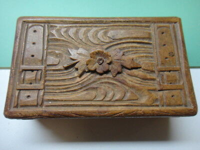 Carved Swiss wooden stamp box with two airmail stamps, floral & woodgrain carved