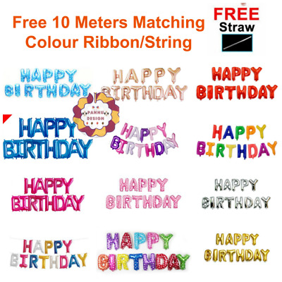 """12 Colours 16"""" Large Happy Birthday Foil Balloons Self-inflating Pannu Baloons"""
