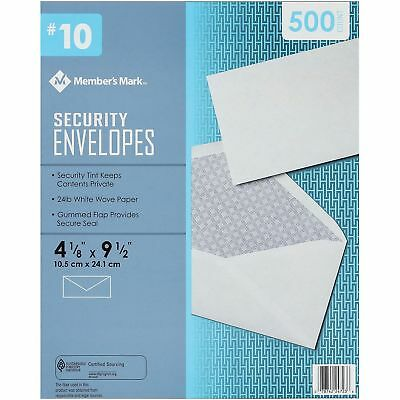 Commercial Office Security Tint Business Envelopes #10 Gummed 500 Count White
