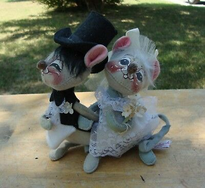 """Vintage Annalee Bride and Groom Small 5"""" Gray Wedding Mice Mouse Dolls"""