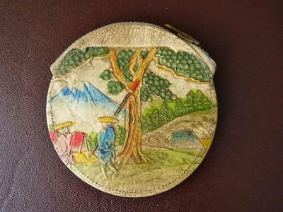 Mid 20th c Japanese Tooled Leather & Hand Painted Coin Purse, Mt Fuji Scene