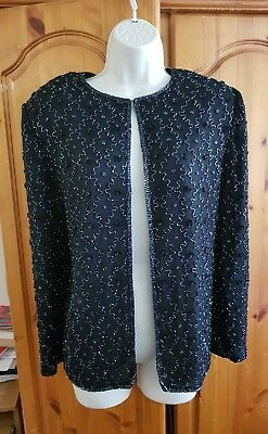 Vintage 80s Rare Sequin Beaded Silk Jacket with Shoulder Pads size large