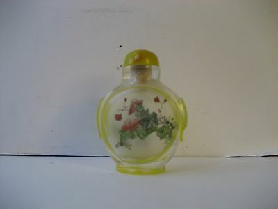 Old Bottle In Bottle Chinese/china Floral Snuff Bottle/jar/celluloid Top-Dabber