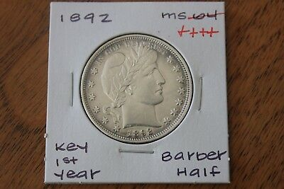 1892  Key 1St Year  Unc+++   Barber Half Dollar