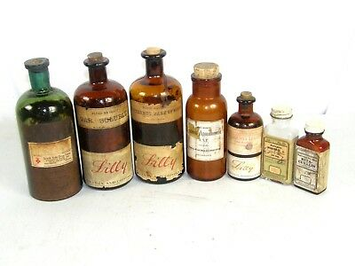 Eli Lilly & Co Lilly Laboratories Crude Drugs Pharmaceutical Bottle Lot of 7