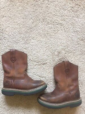 GOOD USED CONDITION Toddler Boys Brown Leather JOHN DEERE Work Boots Size 10