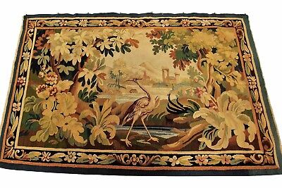 Antique French Aubusson Tapestry Wool & Silk Gold 3'x5' (94cm x 145cm) C.1890
