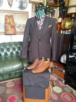 Vintage Early 70s Mr Howard London Wool 3 Piece Suit.Northern Soul.X Small 34-36