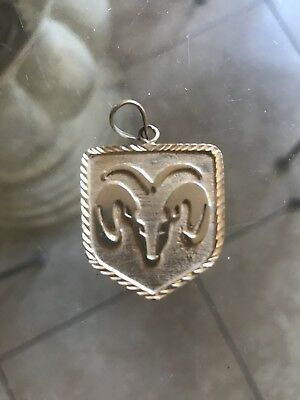 14k Yellow Gold Charm Dodge Ram emblem logo
