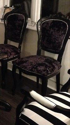 French Louis style Shabby Chic Black Crushed Velvet Chair / Black wood