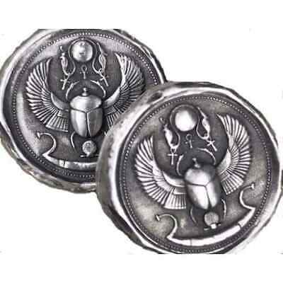 1 oz Silver Egyptian Scarab Beetle Hand Poured .999 Fine 3D Art Round IN-STOCK!!
