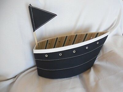 Pottery Barn Kids Fabric Sailboat Changing Table Storage NWOT