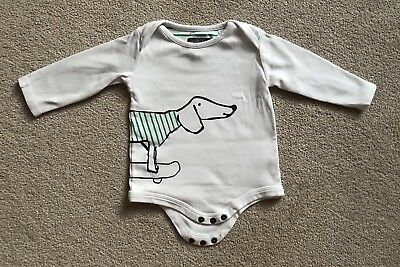 Joules Baby Long Sleeve Vest 6-9 Months White Dog On Skateboard Excellent Condit