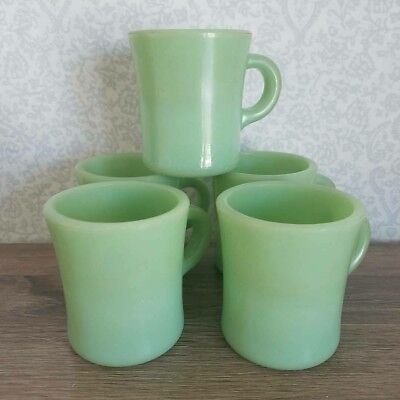 ● 5 Vintage Fire King Jadeite C Handle Restaurant Ware Coffee Cup Jadite Mugs ●