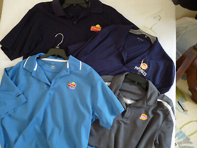 Frito Lay work uniform shirts size Large 4 count lot Wicking Black, Blue, Gray