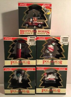 VINTAGE COCA-COLA POLAR BEAR COLLECTION Christmas Ornaments . LOT OF 5