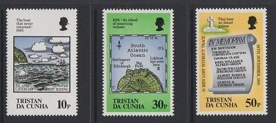 TRISTAN DA CUNHA 1985 Loss of Islands Lifeboat MINT SET sg399-401 MNH