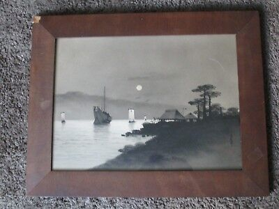 Antique Japanese print painting watercolor signed stamped boat Chinese Asia