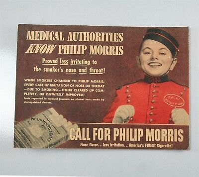 Johnny Call for Philip Morris Counter Top Cardboard Easel Advertising Sign 5 x 7