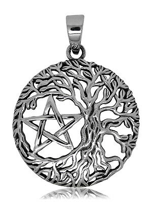 925 solid Sterling Silver Tree of Life w. Pentagram Pentacle Wicca Pagan pendant