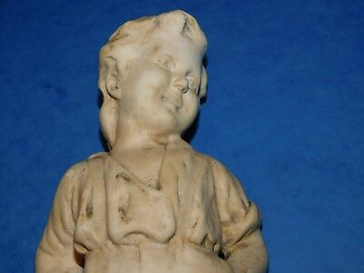 1930's LARGE CHALK OR ALABASTER BOY FIGURINE 'TOTO' RD. 789006 O.P. 199. STATUE