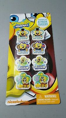 SongeBob SquarePants collectible personalized 8 pack erasers NEW