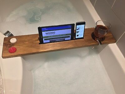 WOODEN BATH CADDY Reclaimed Bath Tray Bath Shelf Board Tablet Wine ...