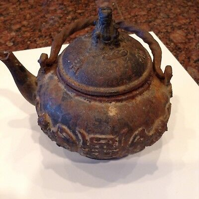 Antique Chinese Small Cast Iron Teapot Signed