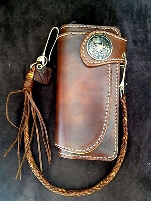 Vintage Heavy Thick Genuine Leather Handmade wallet Biker Purse Brown w/Braided