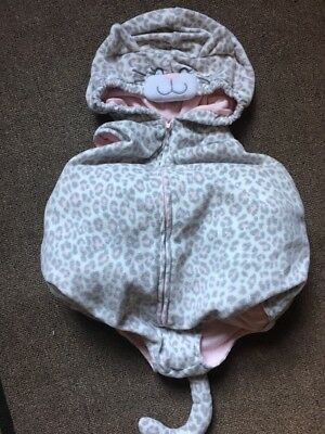 Carter's 24 Months Gray Pink Cat Leopard Plush Costume Hood Tail