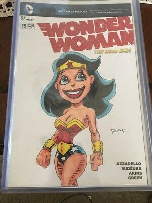 Wonder Woman The New 52 Blank Cover With Original Sketch By RAK