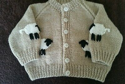 Brand New Hand Knit Baby Boys Cardigan with WOOLLY SHEEP (3-6 months)
