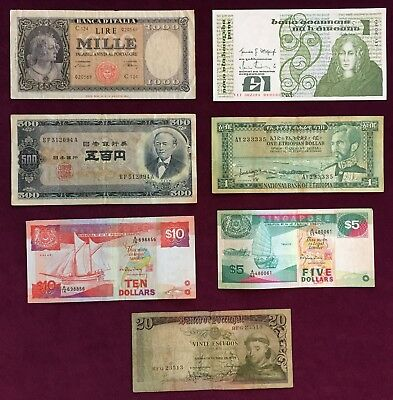 Foreign Paper Lot of 7 notes from 6 countries          Fine to Extra Fine