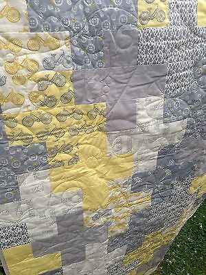 Lemon Grey Handmade Quilt Toddler Bed New
