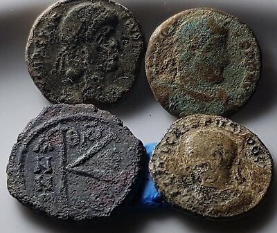 Lot Of 4 Ancient Roman Byzantine Bronze Coins