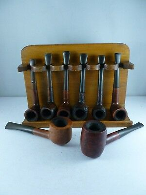 INTERESTING job lot collection of 8 X vintage estate pipes and rack