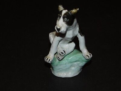 CROWN STAFFORDSHIRE PORCELAIN CO BLACK & WHITE LOVEABLE MONGREL DOG FIGURINE c19