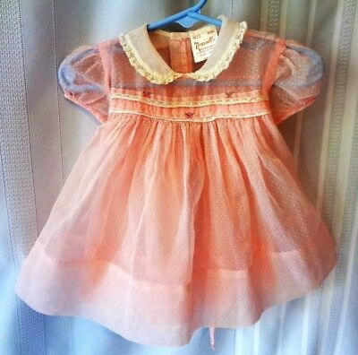 Vintage NANNETTE BABE FROCK Sheer PINK Dotted Swiss Baby Dress Lace Smocking