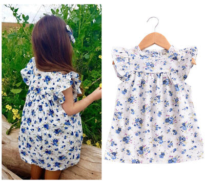 Baby Kids summer clothes girls cotton sleeveless dress party daily dress floral