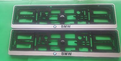 PAIR    BMW NUMBER PLATE SURROUNDS HOLDER FRAME Trim FOR Any CAR