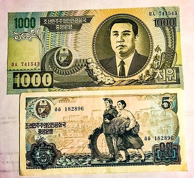 Nr Lot Of Two (2) Dprk (Communist Country Near China) Banknotes, Rare!
