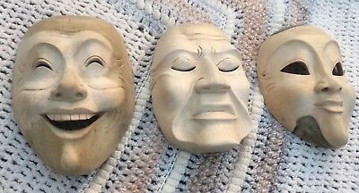 3 Oriental Wooden Face Masks Drama Expressions Chinese Theatre Japanese Wall Art