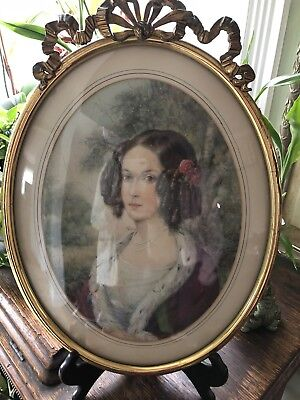 Vintage Convex Glass Picture Frame Oval Bubble Woman Antique Wall