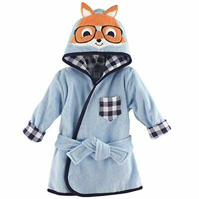 Hudson Baby Boys Blue Nerdy Check Fox Animal Face Hooded Bathrobe 0-9 Months