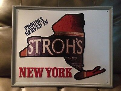 "TIN SIGN 17.5"" X 21.5"" Stroh's Beer New York Metal Bar Wall Art"